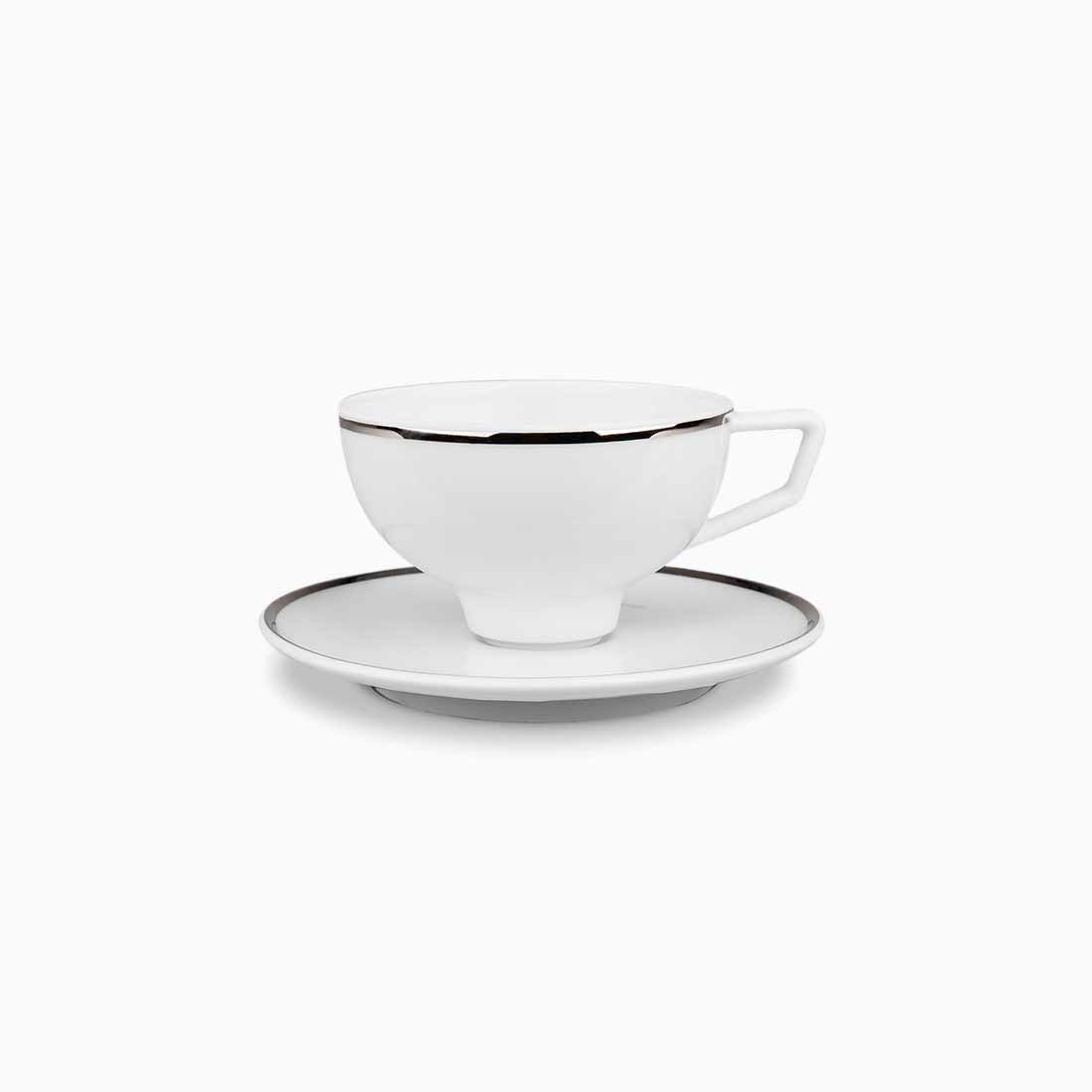 Pomona Espresso Cup and Saucer White with platinum line by Bodo Sperlein