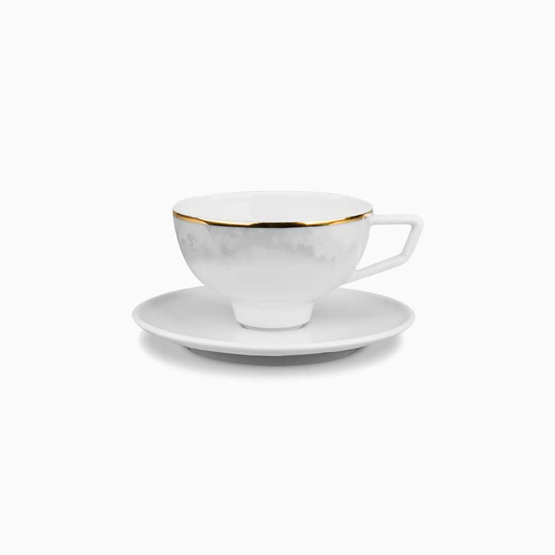 Pomona Espresso Cup and Saucer Grey Tempest with gold line by Bodo Sperlein