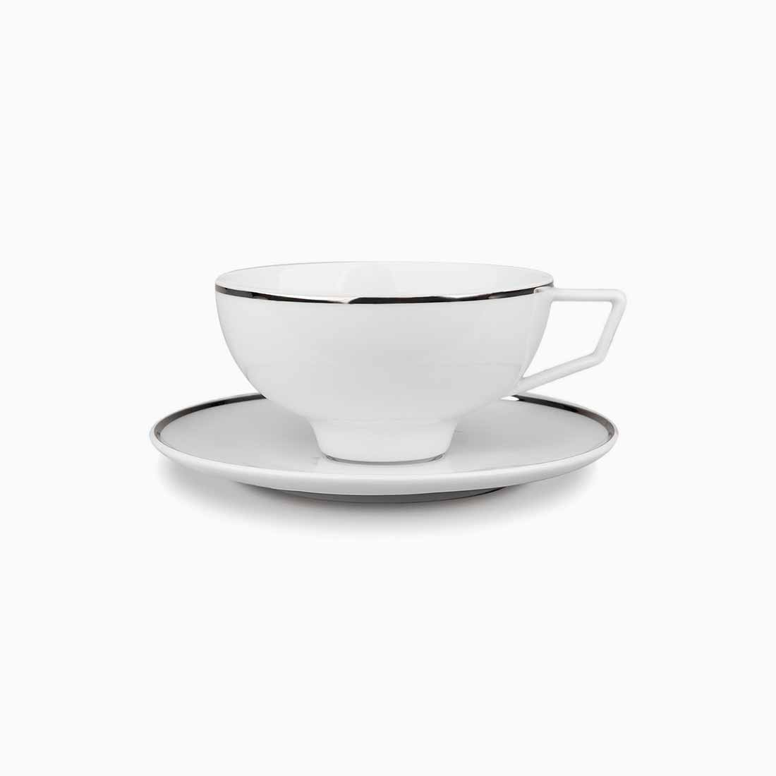 Pomona Teacup and Saucer White with platinum line by Bodo Sperlein