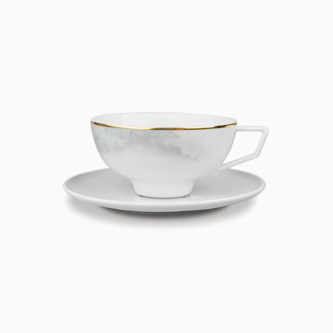 Pomona Teacup and Saucer Grey Tempest with gold line by Bodo Sperlein